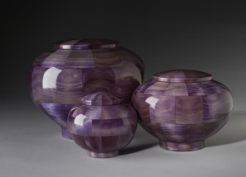 Peony Purple Wood Cremation Urn Memorial Urns