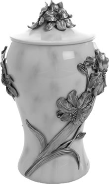 Lilies Of Pewter Cremation Urn Memorial Urns