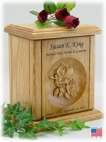 Double Rose Wood Cremation Urn Memorial Urns