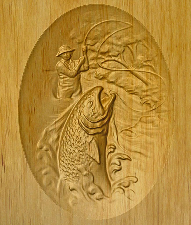 Stream fishing relief carved wood cremation urn memorial