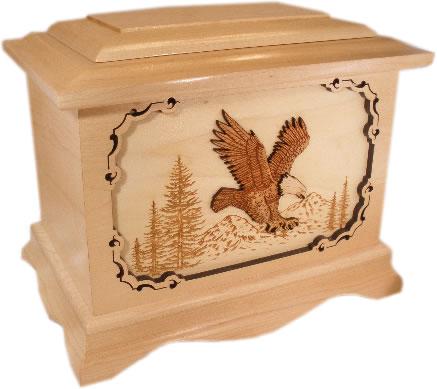 Wood Bald Eagle Cremation Urn - Memorial Urns