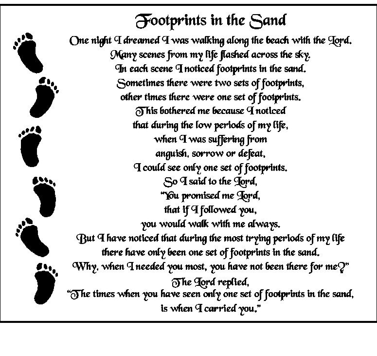 Satisfactory image with footprints in the sand poem printable