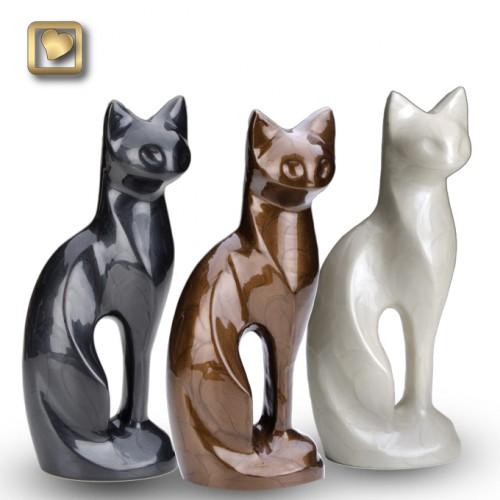 Pearlescent Bronze Cat Urn Memorial Urns