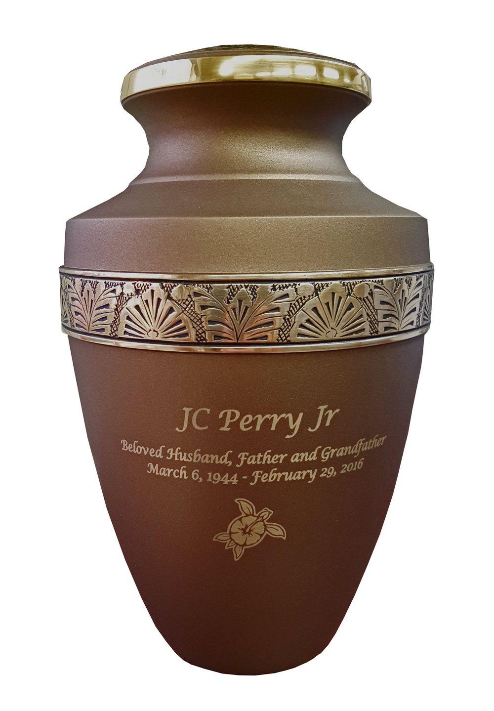 Chestnut Brass Cremation Urn Floral Band Memorial Urns