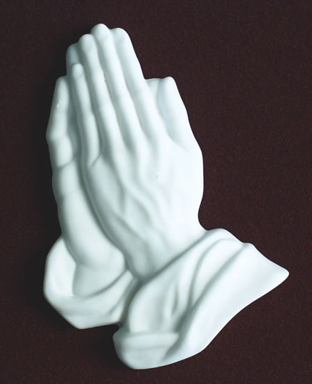 White Marble Praying Hands Applique Memorial Urns