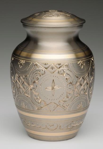 Large Platinum and Gold Pet Cremation Urn