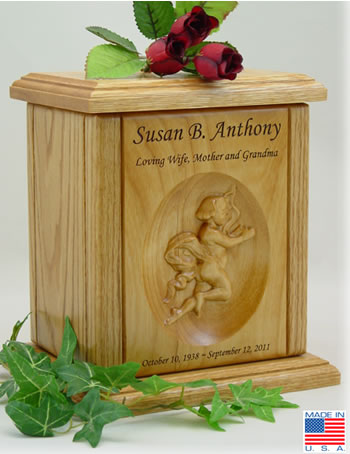 Cherub Relief Carved Wood Urn
