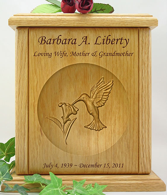 Hummingbird relief carved wood cremation urn memorial urns