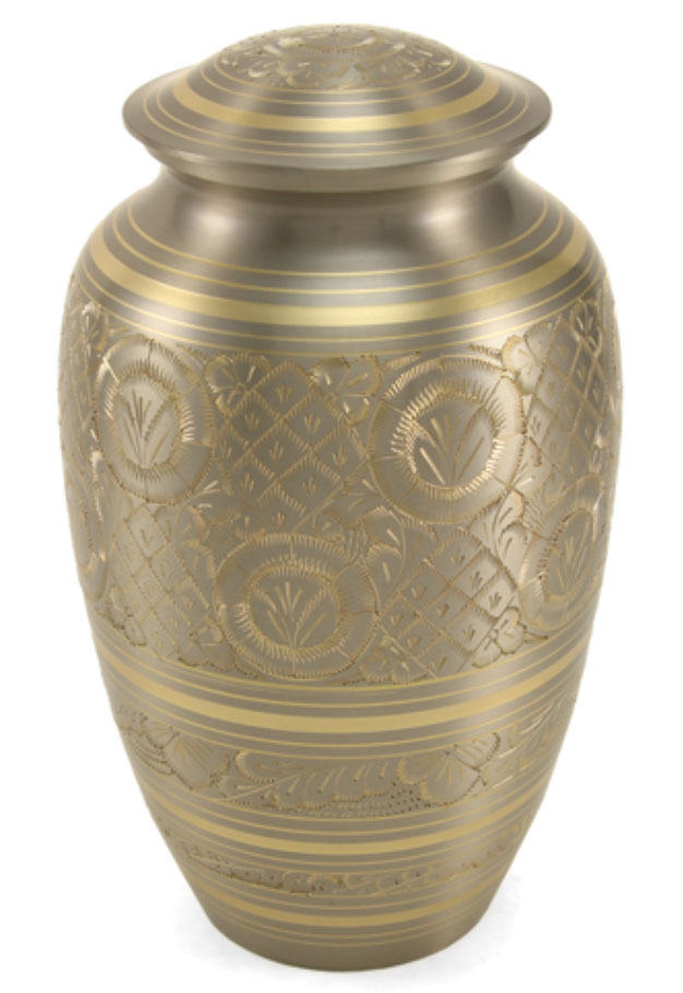 Adult Platinum And Gold Brass Cremation Urn Memorial Urns