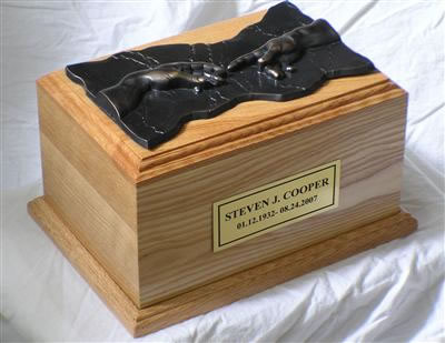 Hand of God Oak Cremation Urn
