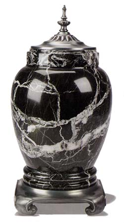 Black Marble Urn With Pewter Base And Top Memorial Urns