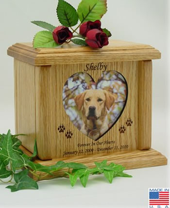 Heart Photo Wood Pet Urn Memorial Urns