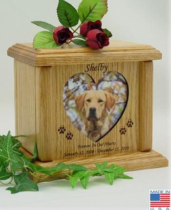 Heart Photo Wood Pet Urn Memorial Urns