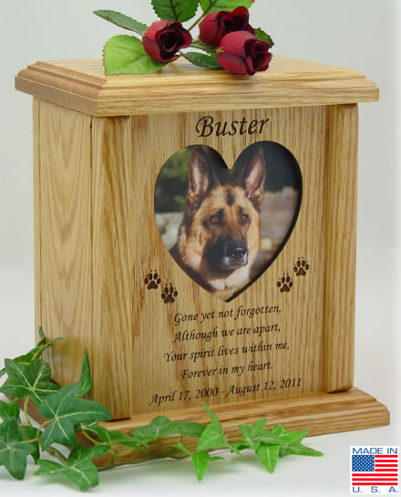 Heart Photo Frame With Poem Wood Pet Urn Memorial Urns