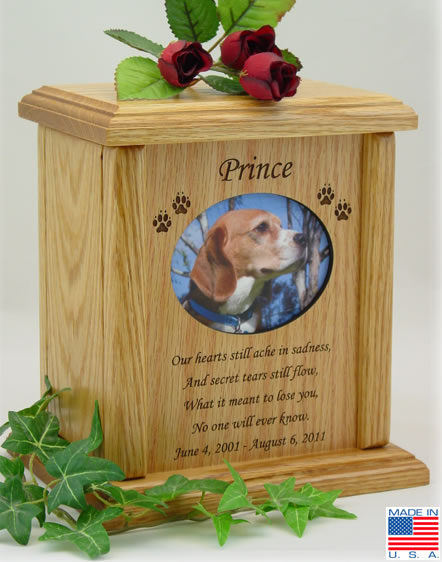 Oval Photo Frame With Poem Wood Pet Urn Memorial Urns