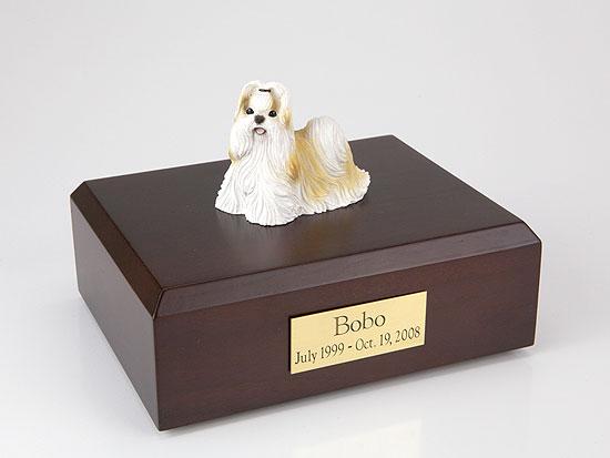 Shih Tzu, Gold-White Standing Dog Figurine Urn