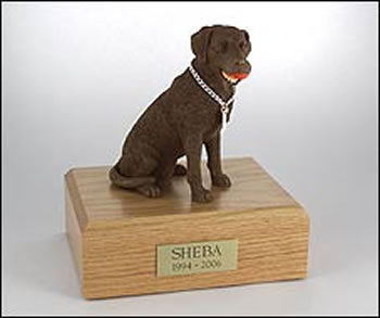 Chocolate Lab with Ball Figurine Urn