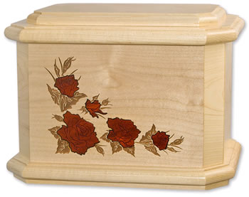 Roses on Maple Wood Cremation Urn