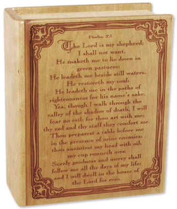 Psalm 23 Wood Book Cremation Urn