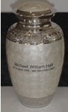 Nickel Plated Pearl White Cremation Urn