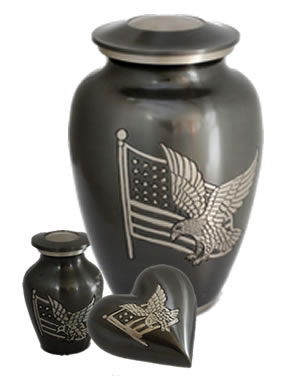 Eagle and Flag Brass Cremation Urns