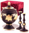 Ebony Leaf Cremation Urn Set
