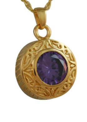 Gold Amethyst Round jewelry Cremation Urn pendant