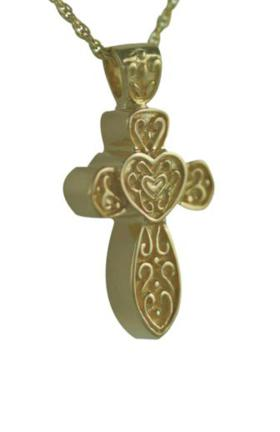 Gold cross with heart jewelry urn
