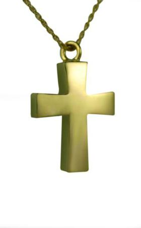 Gold cross pendant Cremation Urn