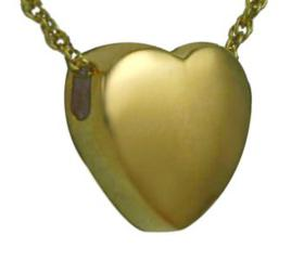 Gold Slider heart pendant Cremation Urn