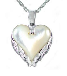 Heart with angel wing mother of pearl pendant urn