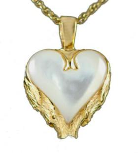 Gold Heart with Angel Wing Mother of Pearl Pendant Urn