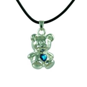 Bear with Blue Mother of Pearl Pendant Urn