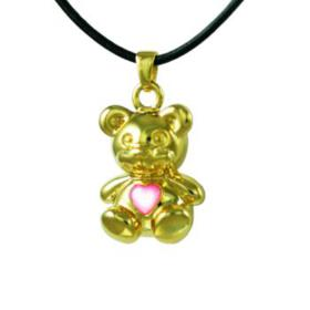 Gold Bear with Pink Stone Pendant Urn