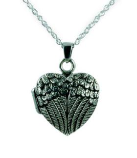 Silver Wing heart locket jewelry urn