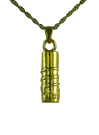 Gold Scroll Paws Cylinder Pendant Cremation Urn