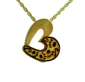 Gold heart with paws pendant urn
