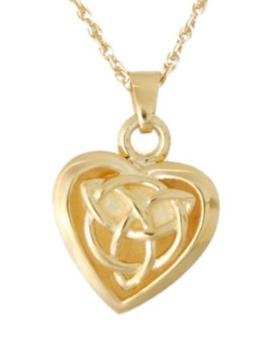 Gold celtic heart jewelry urn