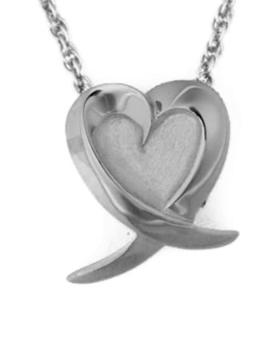 Slider Heart with ribbon jewelry Cremation Urn