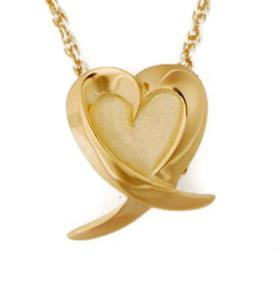 Gold heart with ribbon pendant Cremation Urn