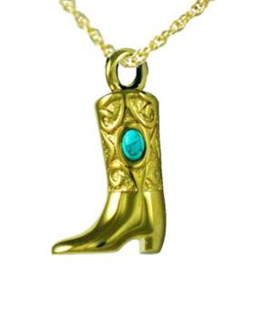 Gold boot with turquoise stone pendant Cremation Urn