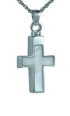 Sterling Silver and Mother of Pearl Cross Pendant Cremation Urn
