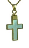Gold and Mother of Pearl Cross Pendant Urn