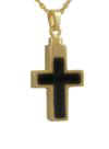 Gold and Onyx Cross Pendant Cremation Urn