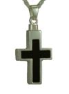Silver and Onyx Cross Pendant Cremation Urn