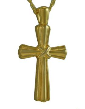 Gold Stalk Cross Pendant