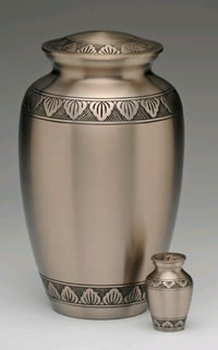Etched Leaf Brass Cremation Urn - Pewter Finish