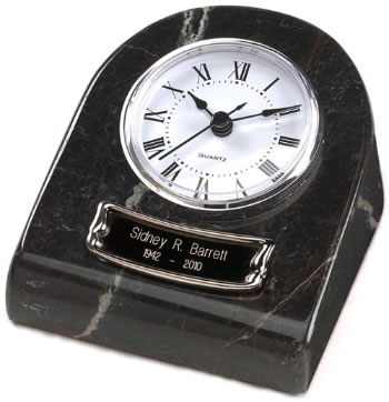 Marble Keepsake Clock Urn - Black Grain