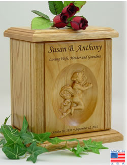 Cherub Relief Carved Wood Cremation Urn