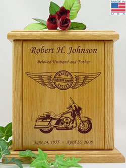 Forever Riding Cruiser Wood Cremation Urn
